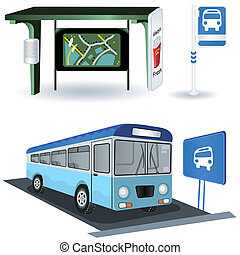 Bus station images - vector illustration of