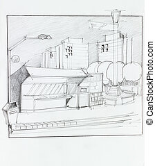 bus stop and kiosk, sketch - hand drawn illustration of bus ...