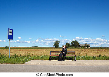 bus stop bench in the countryside