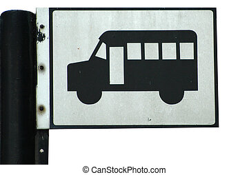 Bus Stop - Bus stop sign at a town center