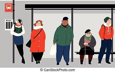Bus stop crowd