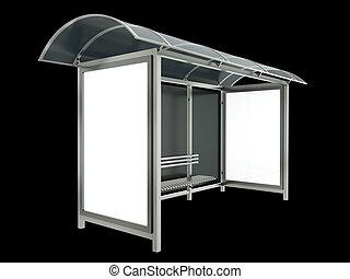 Bus stop on black background. 3D render