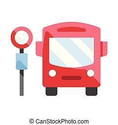 Bus stop flat illustration