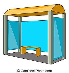 Bus stop icon, cartoon style