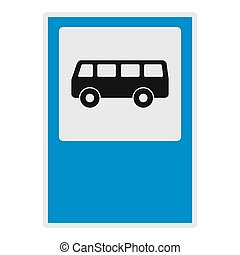 Bus stop icon, flat style.