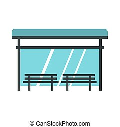 Bus stop icon, flat style