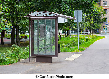 bus stop in the city center