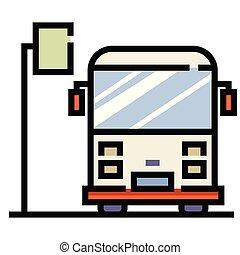 Bus stop LineColor illustration