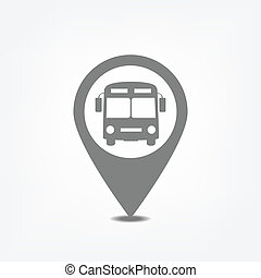 Bus stop pointer - Bus stop icon inside map pointer.Flat...