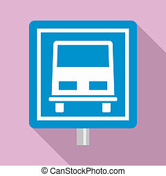 Bus stop road sign icon, flat style