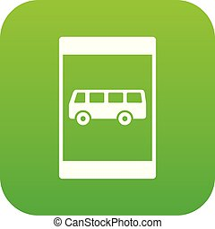 Bus stop sign icon digital green for any design isolated on...