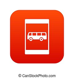 Bus stop sign icon digital red for any design isolated on...