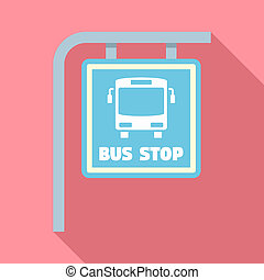 Bus stop sign icon, flat style