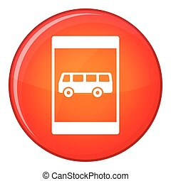 Bus stop sign icon, flat style - Bus stop sign icon in red...