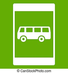 Bus stop sign icon green - Bus stop sign icon white isolated...
