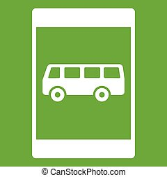 Bus stop sign icon green