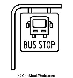 Bus stop sign icon, outline style