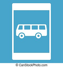 Bus stop sign icon white isolated on blue background vector...