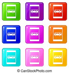 Bus stop sign icons 9 set - Bus stop sign icons of 9 color...