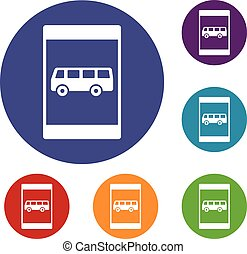 Bus stop sign icons set in flat circle reb, blue and green...