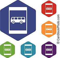Bus stop sign icons set rhombus in different colors isolated...