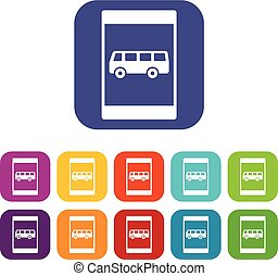 Bus stop sign icons set vector illustration in flat style In...