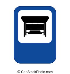 Bus stop sign isolated. bus station Vector illustration