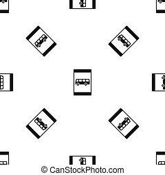Bus stop sign pattern seamless black - Bus stop sign pattern...