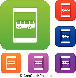 Bus stop sign set collection - Bus stop sign set icon in...