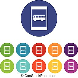 Bus stop sign set icons in different colors isolated on...