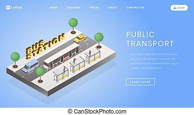 Bus stop, station landing page vector template. Public ...