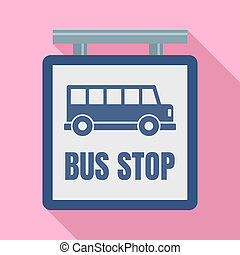 Bus stop station sign icon, flat style