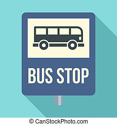Bus stop traffic sign icon, flat style