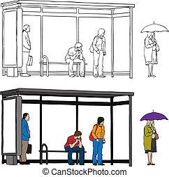 Bus stop - Vector sketch of bus stop with blank billboard...