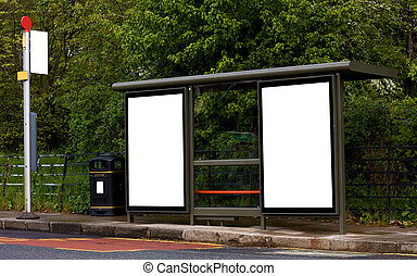 bus stop with blank boards