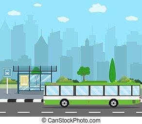 Bus Stop with City Skyline