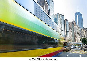 bus, straße, durch, geschwindigkeitsüberschreitung