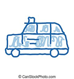 bus taxi doodle icon hand drawn illustration