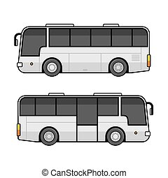 Bus Template Set on White Background. Vector