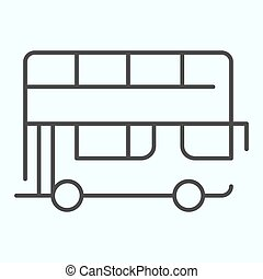 Bus thin line icon. Double-decker bus vector illustration isolated on white. London city tour bus outline style design, designed for web and app. Eps 10.