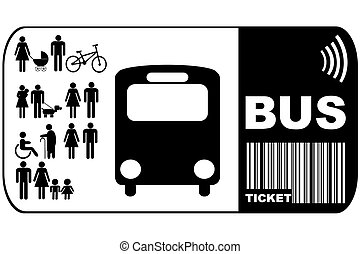 Bus ticket isolated on white background