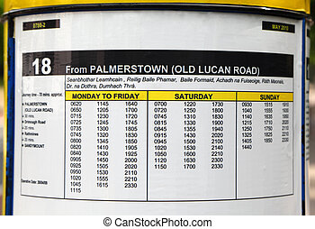 bus timetable on round board. Monday to Friday. Saturday....
