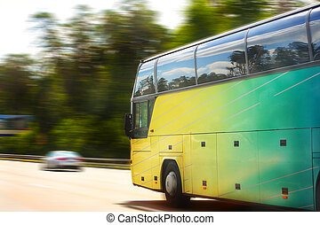 bus tourist moves on motorway