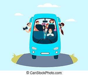 bus, touristen