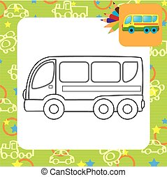 Bus toy. Coloring page