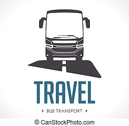 Bus transport logo - vector illustration