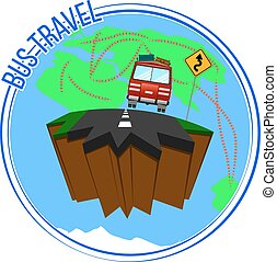 Bus travel around the world. Vector illustration.