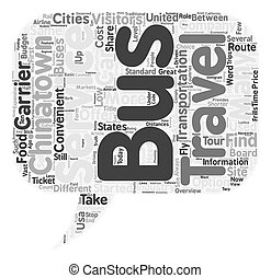 Bus Travel in the US an Overview for Visitors text background wordcloud concept