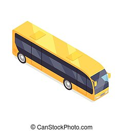 Bus Vector Icon in Isometric Projection