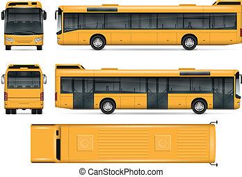 bus, vektor, gelber , schablone